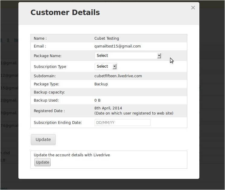 Livedrive Customer Details