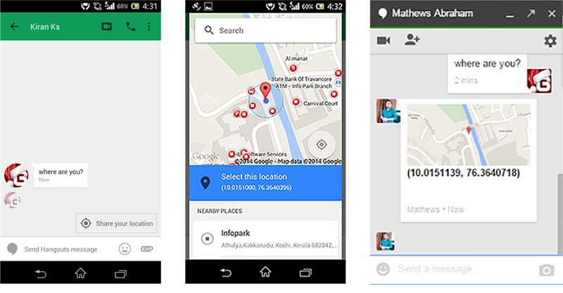 Google Hangout Locataion Sharing