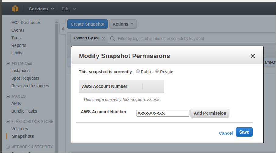 Modifying Snapshot Permission