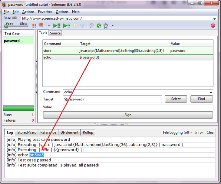 Generating Random Password Using Selenium Ide