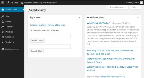 Wordpress Multisite Network Dashboard Overview