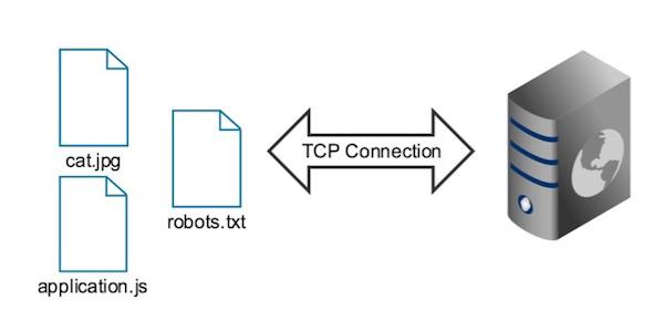 Requests for multiple assets on a single host use a single TCP connection in HTTP2